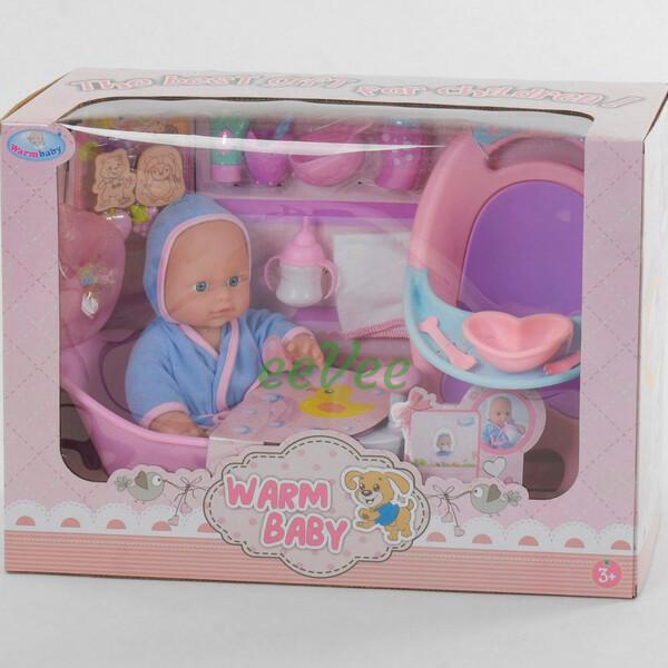 Пупс функціональний Warm Baby No008G 31 см зі стільчиком для годування, ванночкою і аксесуарами