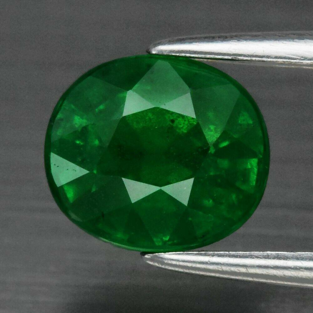 Цаворіт гранат, Green Tsavorite Garnet 1.47 ct 7 x 6 mm Сертифікат