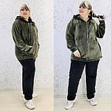Спортивный костюм женский велюр высокого качества баталы, разные цвета, р.54/56, 58/60 полномерные Код 808Б, фото 7