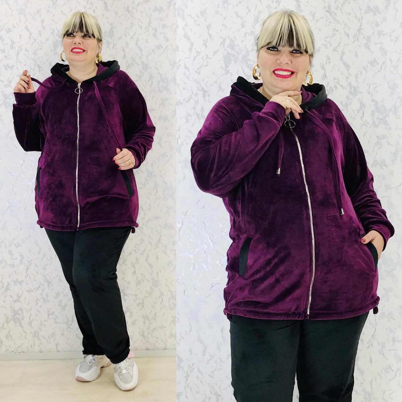 Спортивный костюм женский велюр высокого качества баталы, разные цвета, р.54/56, 58/60 полномерные Код 808Б