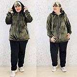 Спортивный костюм женский велюр высокого качества баталы, разные цвета, р.54/56, 58/60 полномерные Код 808Б, фото 5