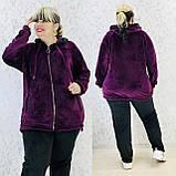 Спортивный костюм женский велюр высокого качества баталы, разные цвета, р.54/56, 58/60 полномерные Код 808Б, фото 2