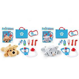 Животное 118-104A-104B  18см, плюш, сумка,стетоскоп,инструм,микс вид, кульке,24-26-8см
