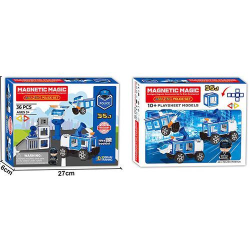 Конструктор LQ662 (18шт) магнітний, поліція, транспорт, фігурка, 36дет,в кор-ке,27-21-6,5 см