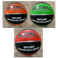 Мяч баскетбольный VA 0055 размер7, резина, 12панелей, 3цвета, 580-600г, в кульке