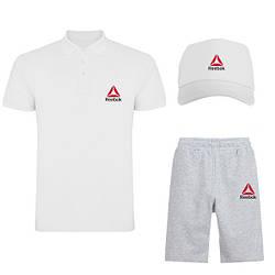 Мужской костюм тройка кепка поло и шорты Рибок (Reebok), летний мужской костюм, копия