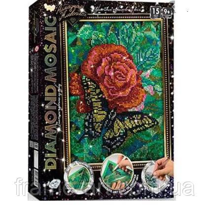 Алмазная живопись Diamond Mosaic Роза с бабочкой DM-02-08