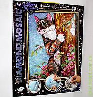 Алмазная живопись Diamond Mosaic Котшка на дереве DM-01-04