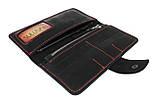 Кошелек женский кожаный SULLIVAN  kgb22(8) черный красная нитка, фото 5