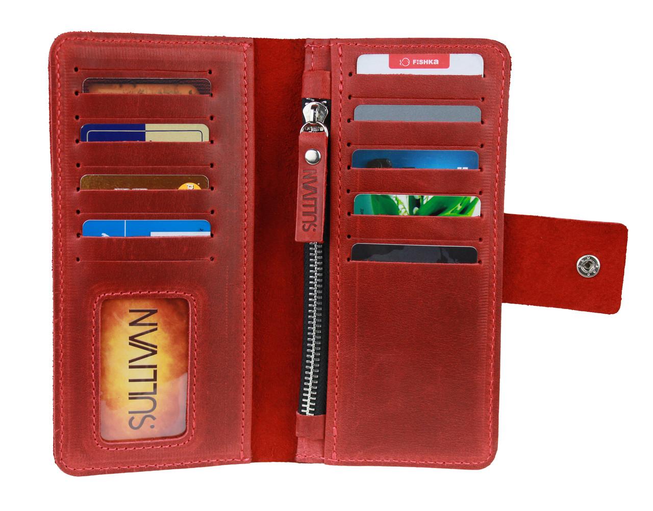 Кошелек женский кожаный SULLIVAN  kgb48(9) красный