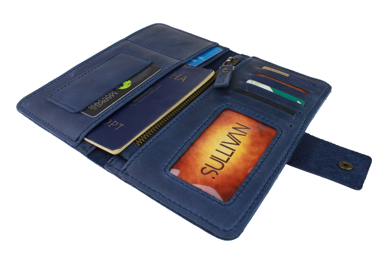 Кошелек женский кожаный под паспорт SULLIVAN kgb27(10) синий