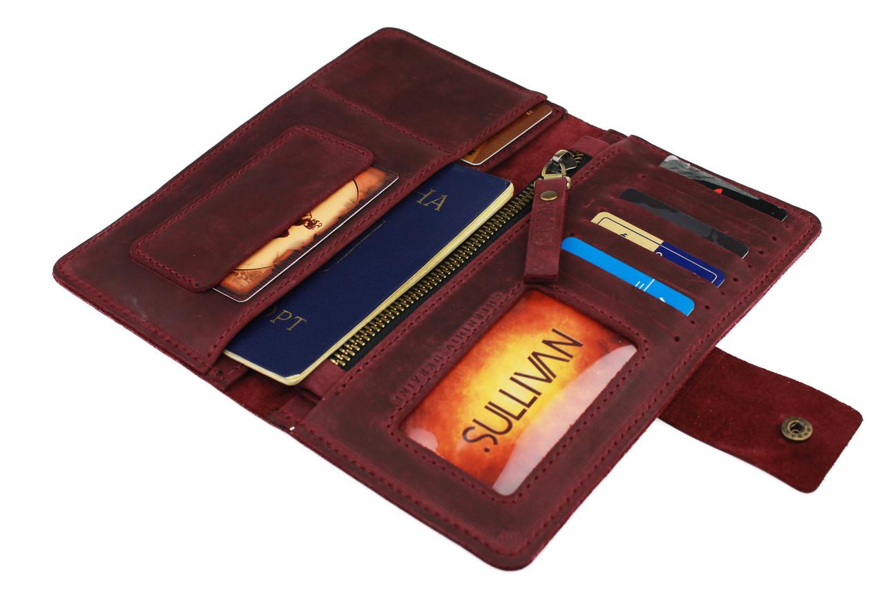 Кошелек женский кожаный под паспорт SULLIVAN kgb11(10) марсала