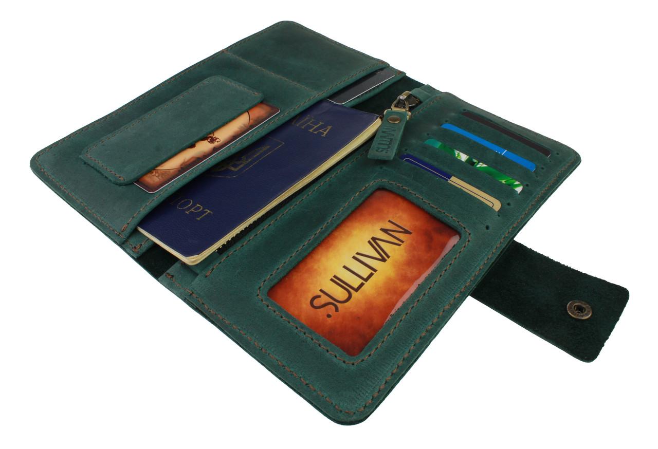 Кошелек женский кожаный под паспорт SULLIVAN kgb35(10) зеленый