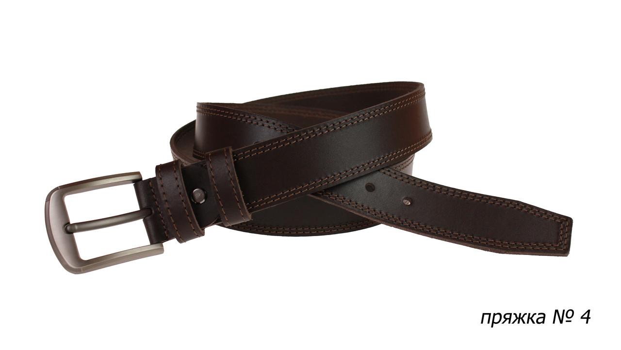 Ремень кожаный джинсовый двойная строчка SULLIVAN  RMK-21(8) 115-150 см коричневый