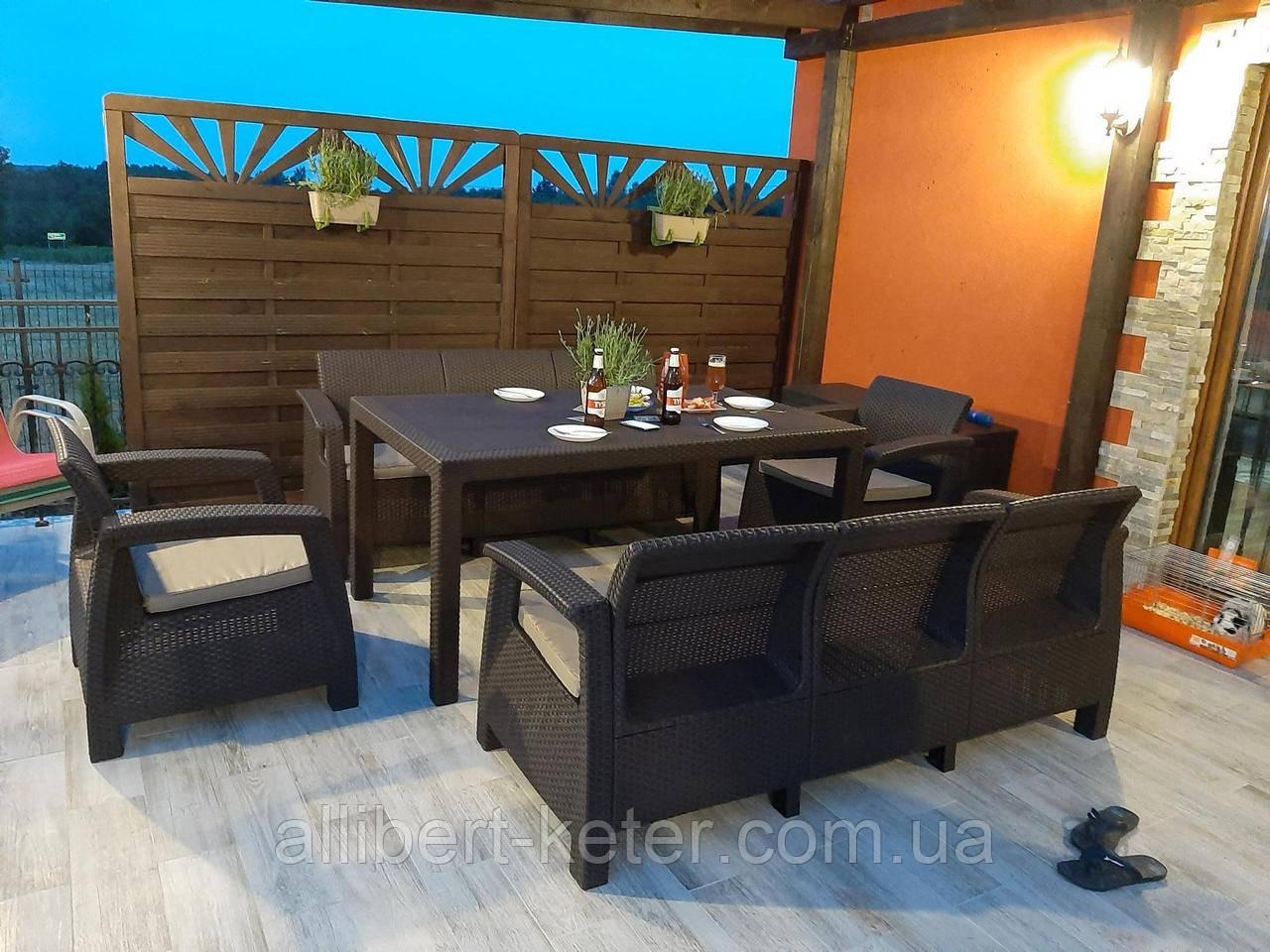 Комплект садових меблів Allibert by Keter Corfu Fiesta Max Dining Garden Set Brown ( коричневий )