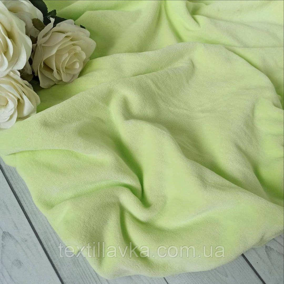 Ткань велюр хлопковый салатовый