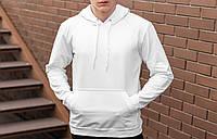 Мужская утепленная белая кофта кенгуру