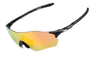 Очки велосипедные GUB 5100, черные с желто-красной линзой