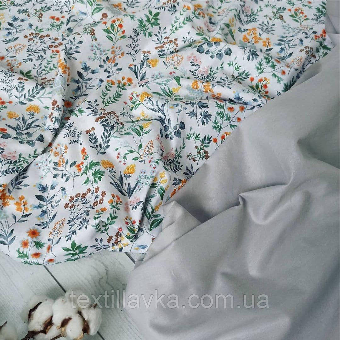 """Набор хлопковой ткани для рукоделия """"Полевые цветы+серый"""""""