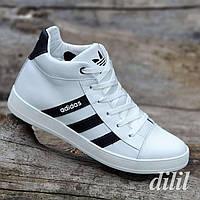 Ботинки мужские зимние кожаные спортивные белые (код 4013) - чоловічі зимові черевики шкіряні спортивні білі