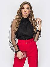 Чёрная блузка свободного кроя с  рукавом из фатиновой сетки