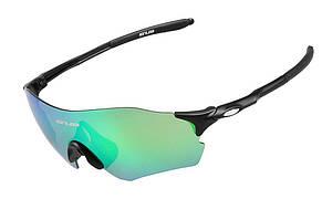 Очки велосипедные GUB 5100, черные с сине-зеленой линзой