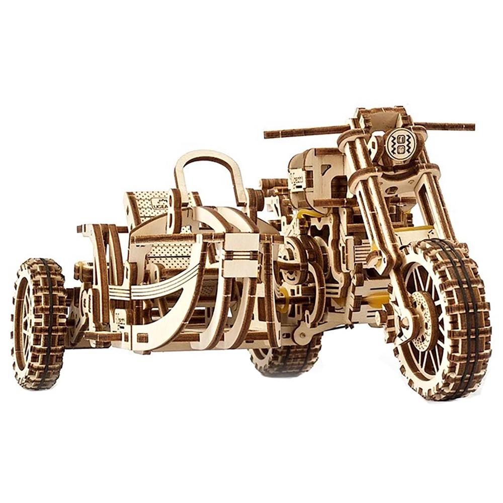 """Механічний 3D пазл """"Мотоцикл Scrambler з коляскою"""", 380 елементів UGEARS (4820184121133)"""