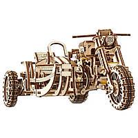 """Механический 3D пазл """"Мотоцикл Scrambler с коляской"""", 380 элементов UGEARS (4820184121133)"""