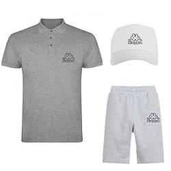 Мужской костюм тройка кепка поло и шорты Каппа (Kappa), летний мужской костюм, копия