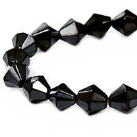 Бусины стекло гальван Биконус 4х4.5мм, Черный