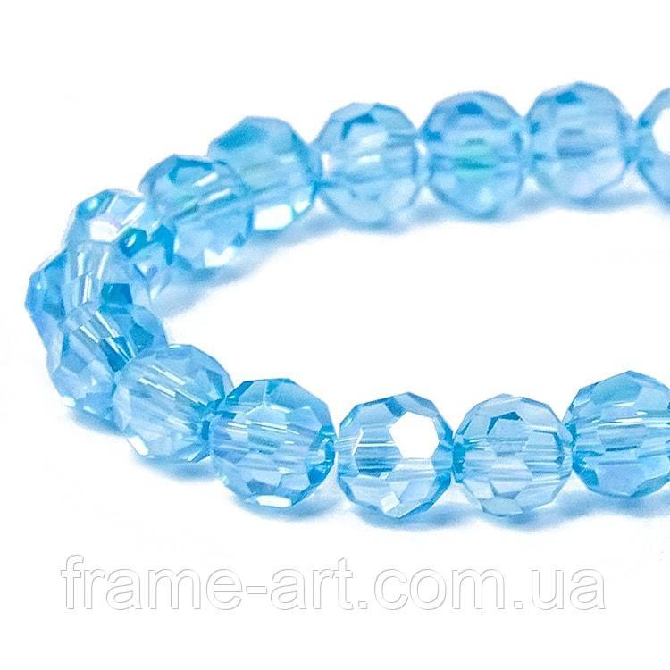 Бусины стекло гальван гран АВ-цв Круглые 4мм Светло-голубой