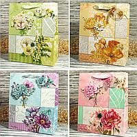Пакет подарочный 41761 Цветы 32*26*12см