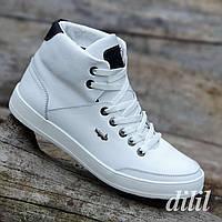 Ботинки мужские зимние кожаные спортивные белые (код 4012) - чоловічі зимові черевики шкіряні спортивні білі, фото 1