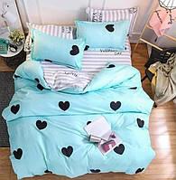 Комплект качественного и милого постельного белья семейка, сердечки бирюза