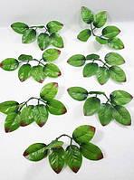 Искусственные листья розы 6-ка с красным(в 1 уп=50 штук), фото 1