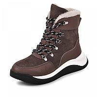 Жіночі чобітки ХАМІ темна кава натуральна шкіра+замш р. Зима, 36