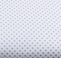 Хлопковая ткань (бязь) 160см №5 Серый горошек 4мм на белом фоне