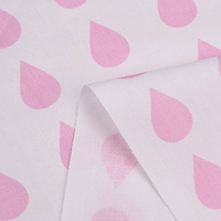 Хлопковая ткань (бязь) 160см Капелька розовая на белом