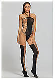 Сексуальна боді сітка комбинезон бодистокинг с рукавами боди сетка сексуальное белье, фото 5