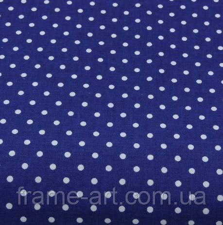 Хлопковая ткань (бязь) 160см №119а Горошек 3мм на синем фоне