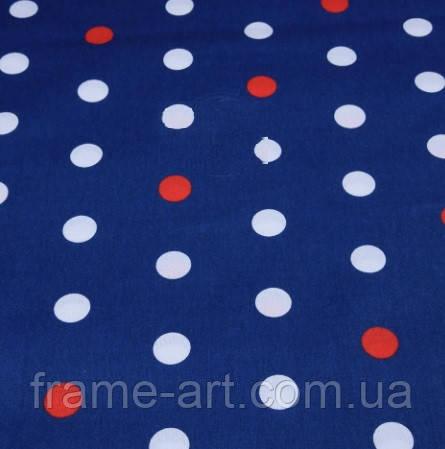Хлопковая ткань (бязь) 160см №1287 Белые и красные горохи 23мм на синем фоне