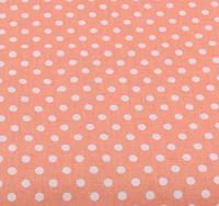 Хлопковая ткань (бязь) 160см №319 Горох 6мм на светло-коралловом фоне