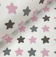 "Хлопковая ткань (бязь) 160см ""Звезды (пряники) розово - серые"" (0,5*1,6м)"