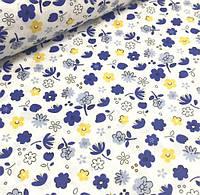 """Хлопковая ткань (бязь) 160см """"Цветы сине - желтые"""" на белом"""