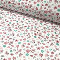 """Хлопковая ткань (бязь) 160см """"Полевые цветы мятно-розовые"""" на белом"""