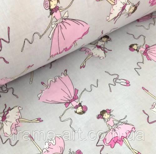 """Хлопковая ткань (бязь) 160см """"Балерины"""" на сером (0,6*1,6м)"""