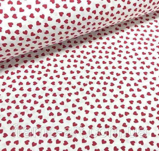 """Хлопковая ткань (бязь) 160см """"Сердца красные на белом"""""""