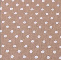 Хлопковая ткань (бязь) 160см №86 Горошек 7мм на светло-коричневом фоне