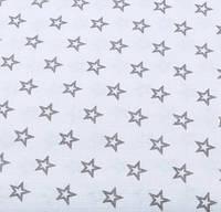 """Хлопковая ткань (бязь) 160см №1850а """"Французские звезды"""" графитовые на белом"""
