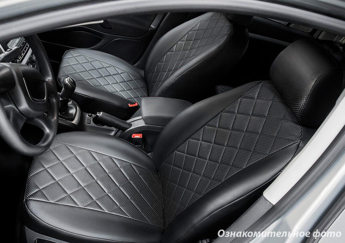 Чехлы салона Ford Focus III 2011-2018 Trend Sport/Titanium Эко-кожа, Ромб /черные 88592